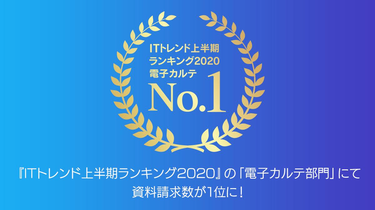 クラウド型電子カルテ『CLIUS(クリアス )』が 『ITトレンド上半期ランキング2020』で1位を獲得 〜2019年に引き続き「電子カルテ」部門で首位に〜